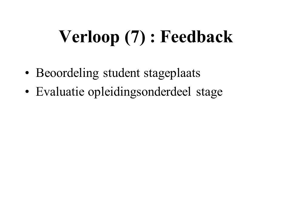 Verloop (7) : Feedback Beoordeling student stageplaats Evaluatie opleidingsonderdeel stage