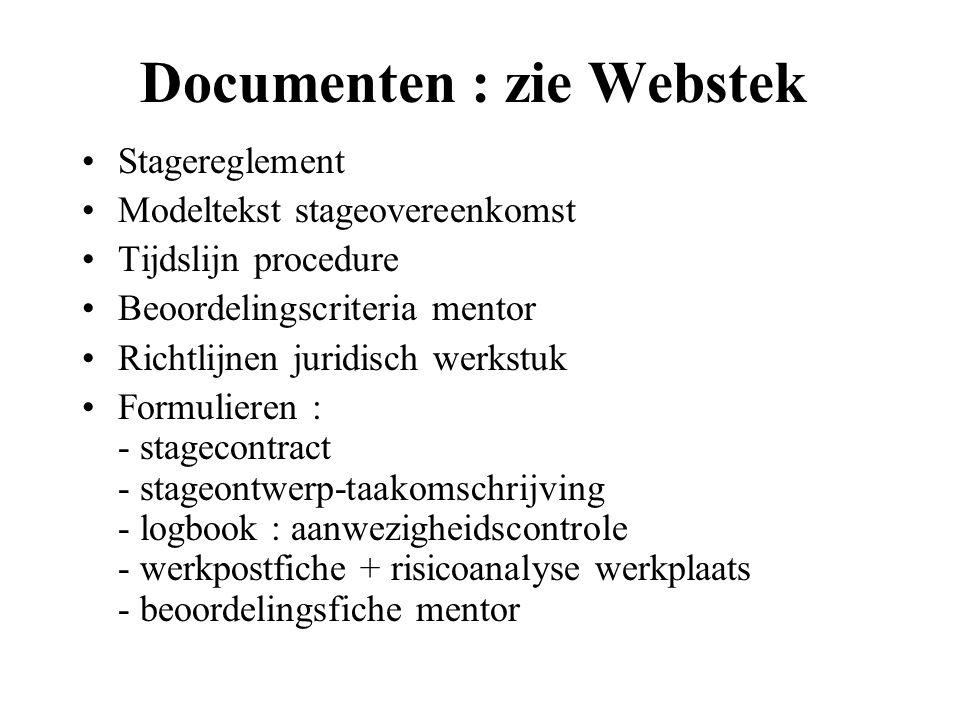 Documenten : zie Webstek Stagereglement Modeltekst stageovereenkomst Tijdslijn procedure Beoordelingscriteria mentor Richtlijnen juridisch werkstuk Formulieren : - stagecontract - stageontwerp-taakomschrijving - logbook : aanwezigheidscontrole - werkpostfiche + risicoanalyse werkplaats - beoordelingsfiche mentor