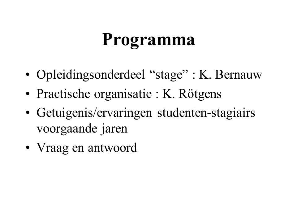 Programma Opleidingsonderdeel stage : K. Bernauw Practische organisatie : K.