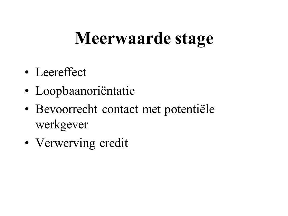Meerwaarde stage Leereffect Loopbaanoriëntatie Bevoorrecht contact met potentiële werkgever Verwerving credit