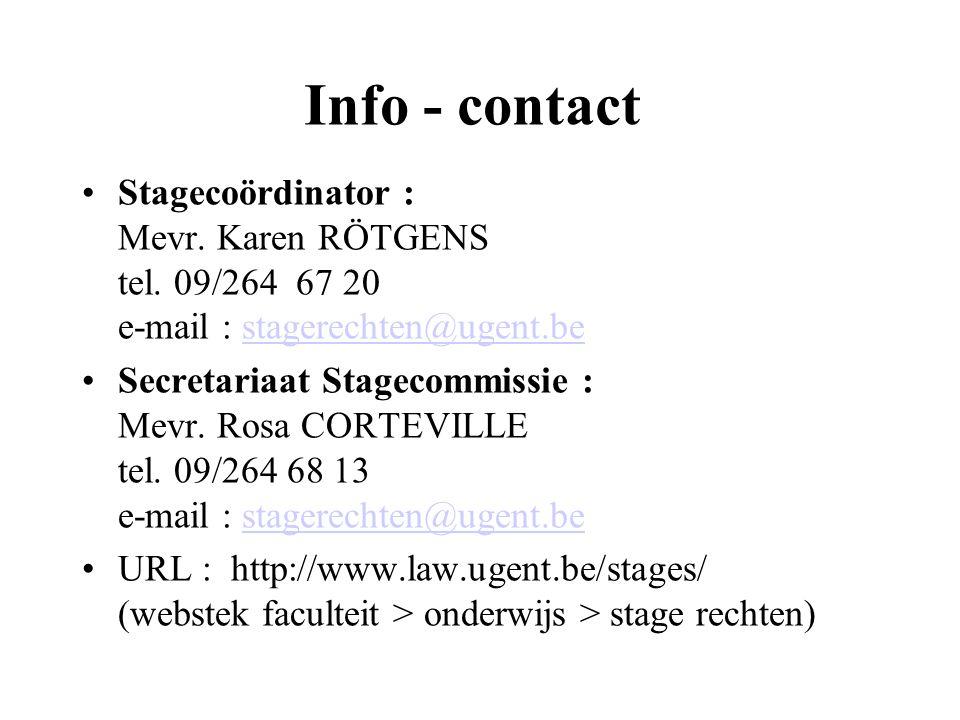 Info - contact Stagecoördinator : Mevr. Karen RÖTGENS tel.