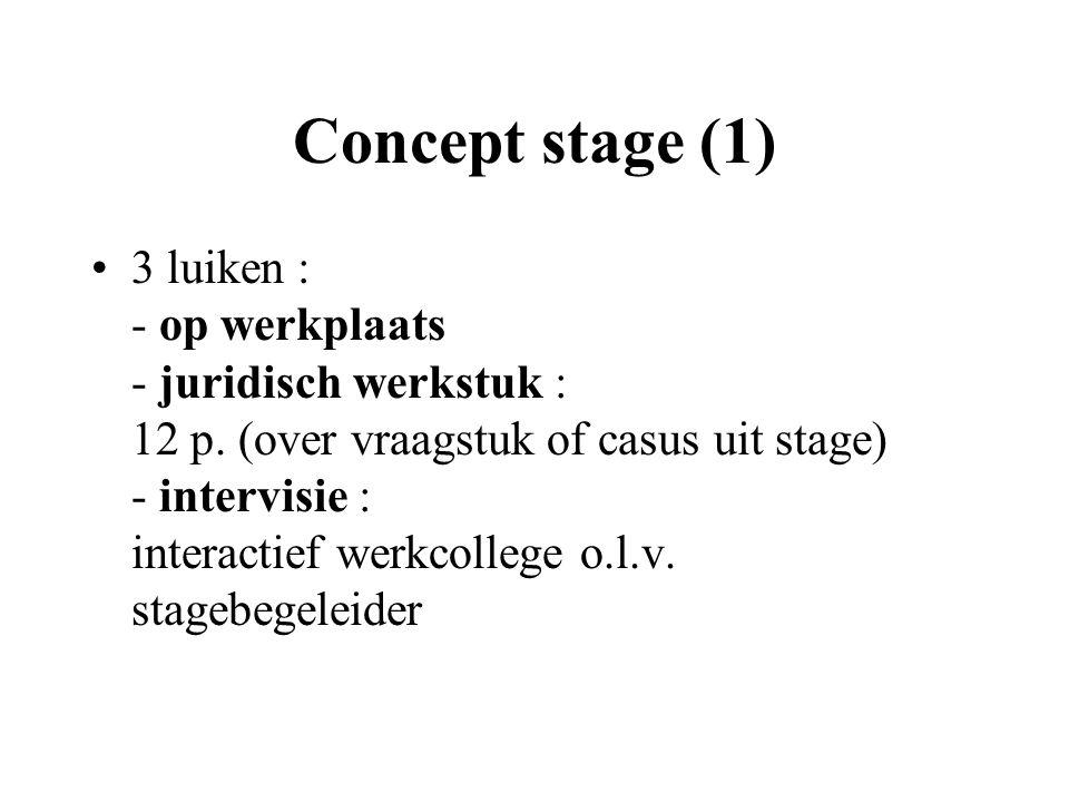 Concept stage (1) 3 luiken : - op werkplaats - juridisch werkstuk : 12 p.