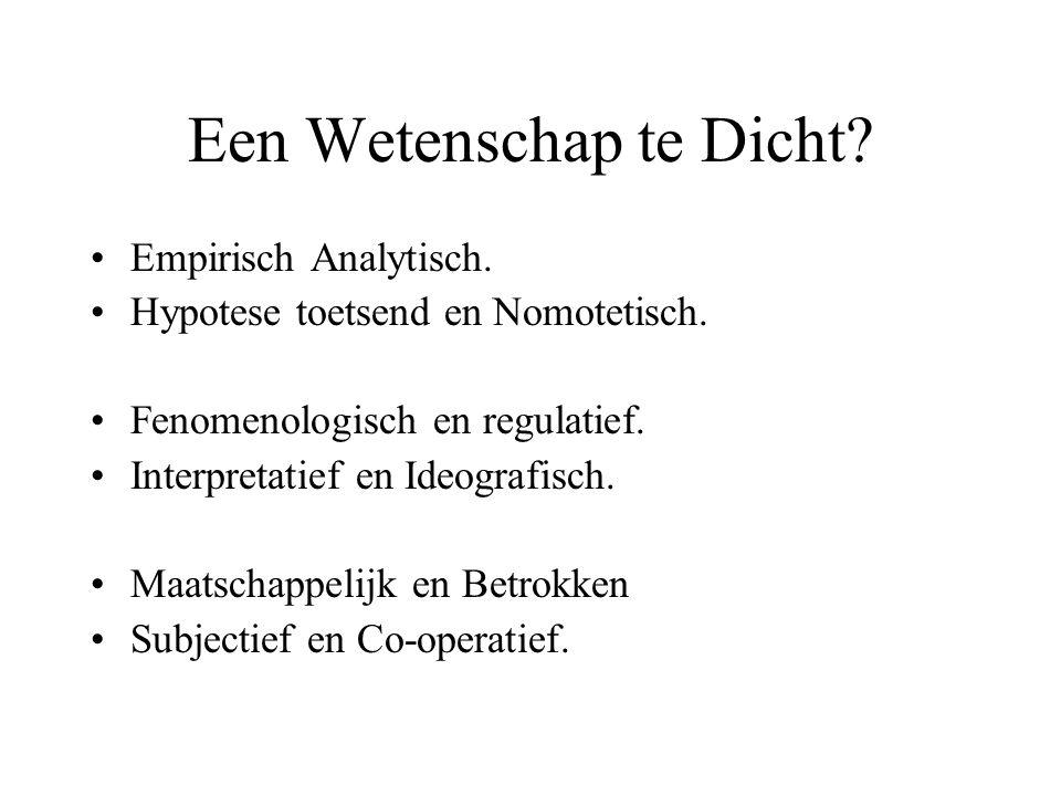 Een Wetenschap te Dicht? Empirisch Analytisch. Hypotese toetsend en Nomotetisch. Fenomenologisch en regulatief. Interpretatief en Ideografisch. Maatsc