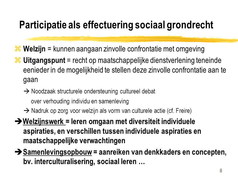 8 Participatie als effectuering sociaal grondrecht z Welzijn = kunnen aangaan zinvolle confrontatie met omgeving z Uitgangspunt = recht op maatschappe