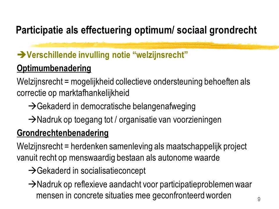 """9 Participatie als effectuering optimum/ sociaal grondrecht  Verschillende invulling notie """"welzijnsrecht"""" Optimumbenadering Welzijnsrecht = mogelijk"""