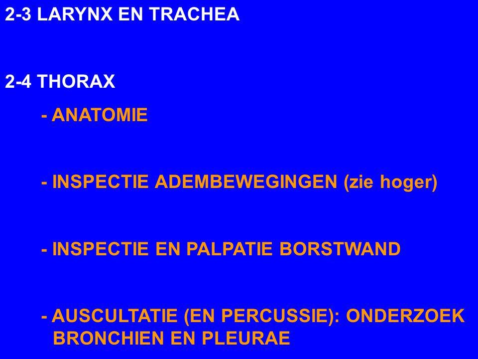 2-3 LARYNX EN TRACHEA 2-4 THORAX - ANATOMIE - INSPECTIE ADEMBEWEGINGEN (zie hoger) - INSPECTIE EN PALPATIE BORSTWAND - AUSCULTATIE (EN PERCUSSIE): OND