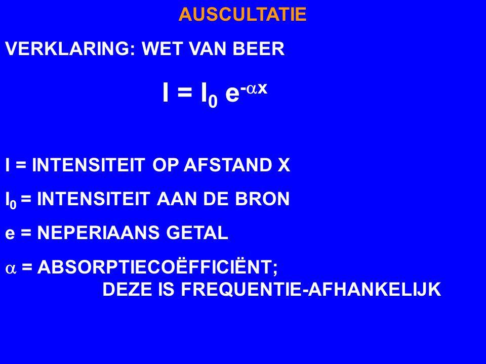 AUSCULTATIE VERKLARING: WET VAN BEER I = I 0 e -  x I = INTENSITEIT OP AFSTAND X I 0 = INTENSITEIT AAN DE BRON e = NEPERIAANS GETAL  = ABSORPTIECOË