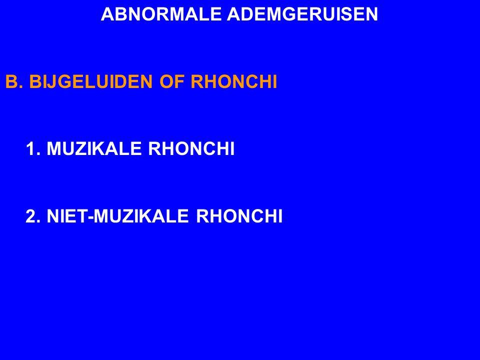 ABNORMALE ADEMGERUISEN B. BIJGELUIDEN OF RHONCHI 1. MUZIKALE RHONCHI 2. NIET-MUZIKALE RHONCHI