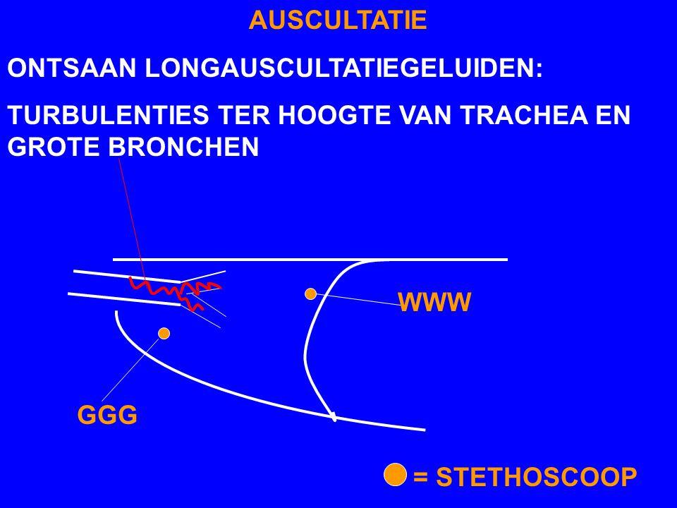 AUSCULTATIE ONTSAAN LONGAUSCULTATIEGELUIDEN: TURBULENTIES TER HOOGTE VAN TRACHEA EN GROTE BRONCHEN GGG WWW = STETHOSCOOP