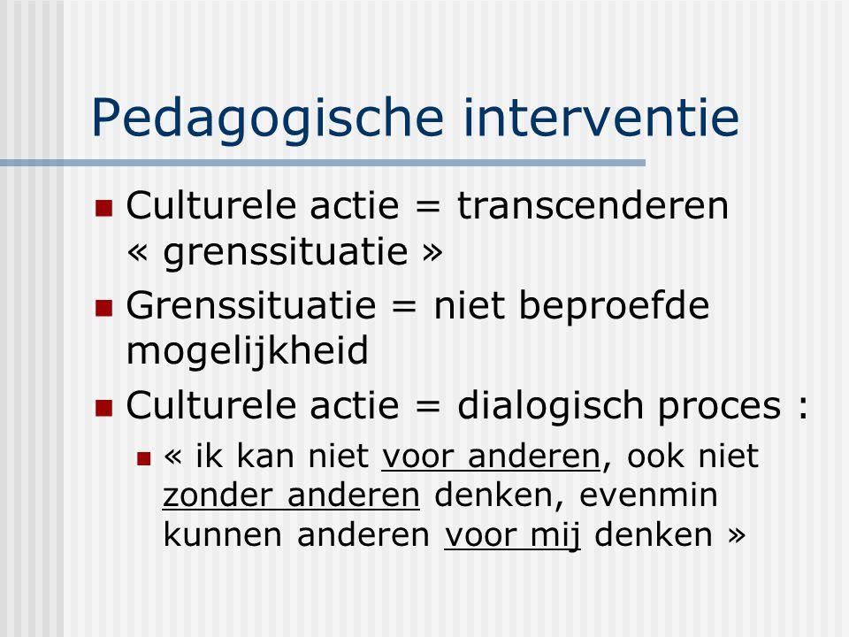 Pedagogische interventie Culturele actie = transcenderen « grenssituatie » Grenssituatie = niet beproefde mogelijkheid Culturele actie = dialogisch pr