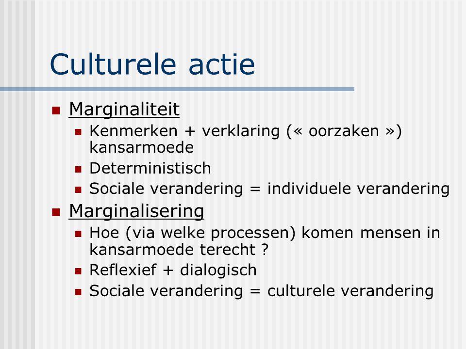 Culturele actie Marginaliteit Kenmerken + verklaring (« oorzaken ») kansarmoede Deterministisch Sociale verandering = individuele verandering Marginal