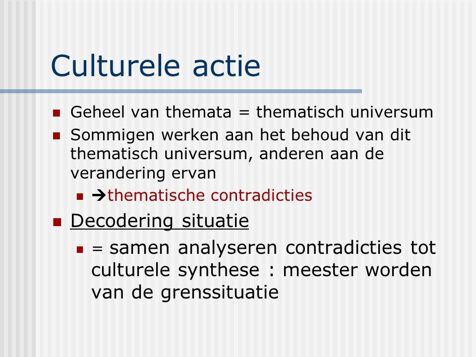 Culturele actie Geheel van themata = thematisch universum Sommigen werken aan het behoud van dit thematisch universum, anderen aan de verandering erva