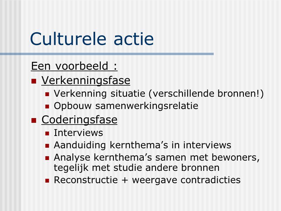 Culturele actie Een voorbeeld : Verkenningsfase Verkenning situatie (verschillende bronnen!) Opbouw samenwerkingsrelatie Coderingsfase Interviews Aand