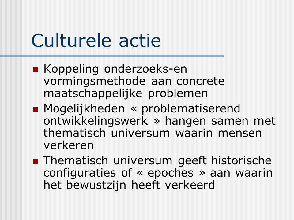 Culturele actie Koppeling onderzoeks-en vormingsmethode aan concrete maatschappelijke problemen Mogelijkheden « problematiserend ontwikkelingswerk » h