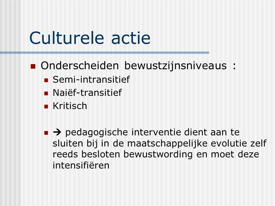 Culturele actie Onderscheiden bewustzijnsniveaus : Semi-intransitief Naiëf-transitief Kritisch  pedagogische interventie dient aan te sluiten bij in