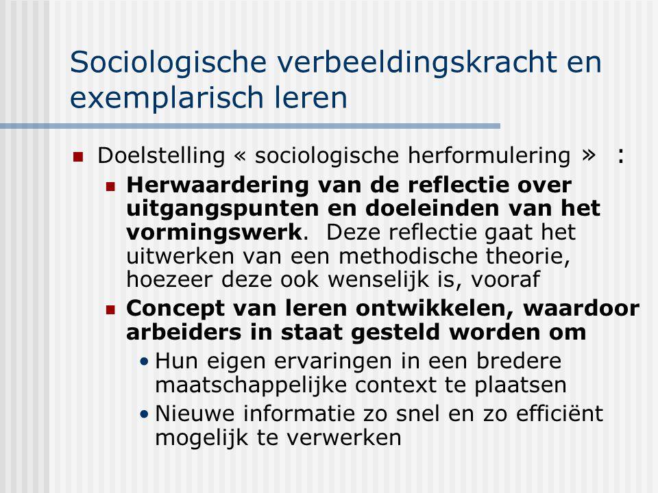 Sociologische verbeeldingskracht en exemplarisch leren Doelstelling « sociologische herformulering » : Herwaardering van de reflectie over uitgangspun
