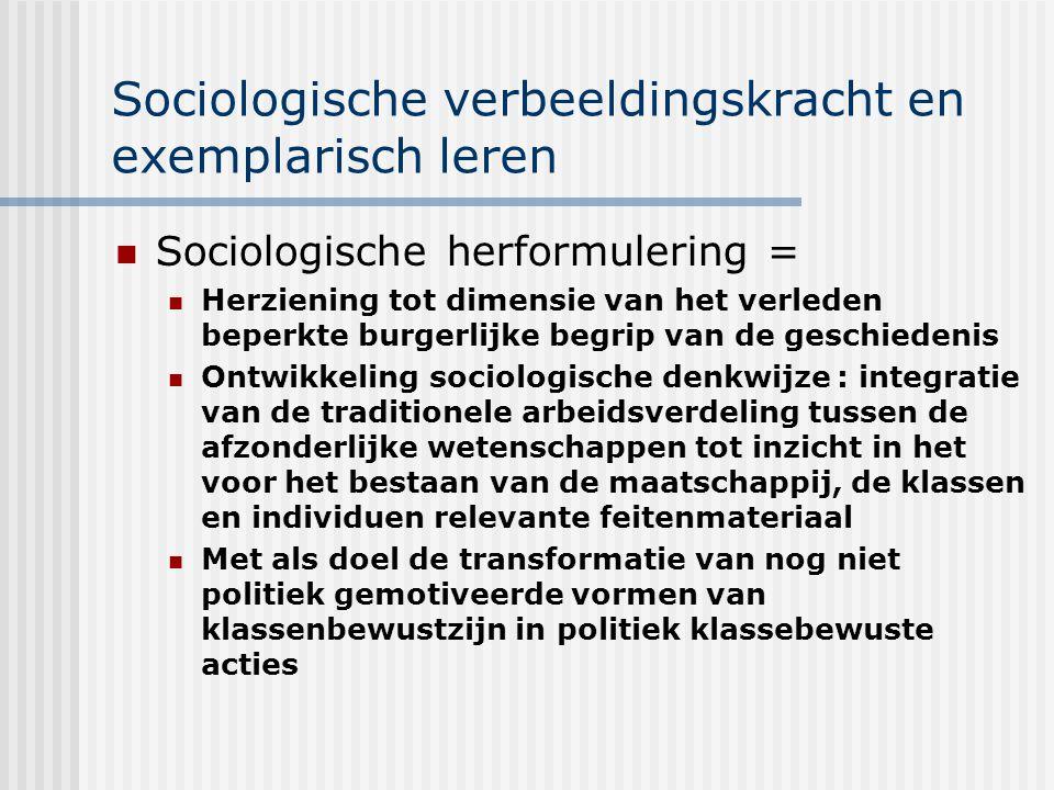 Sociologische verbeeldingskracht en exemplarisch leren Sociologische herformulering = Herziening tot dimensie van het verleden beperkte burgerlijke be