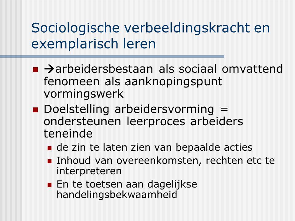 Sociologische verbeeldingskracht en exemplarisch leren  arbeidersbestaan als sociaal omvattend fenomeen als aanknopingspunt vormingswerk Doelstelling