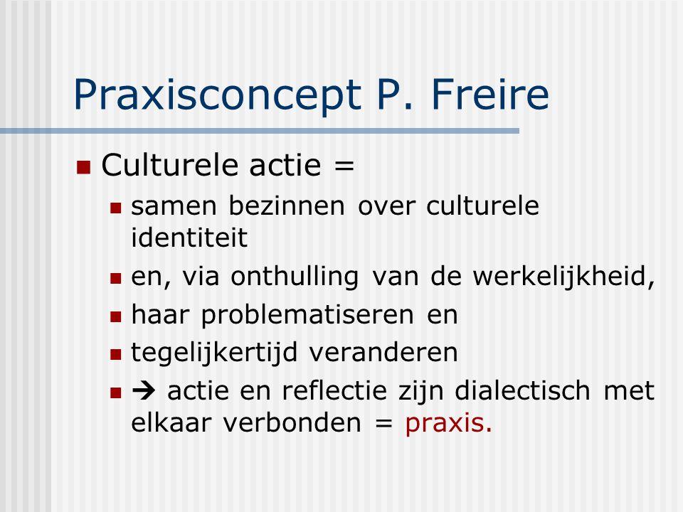 Praxisconcept P. Freire Culturele actie = samen bezinnen over culturele identiteit en, via onthulling van de werkelijkheid, haar problematiseren en te