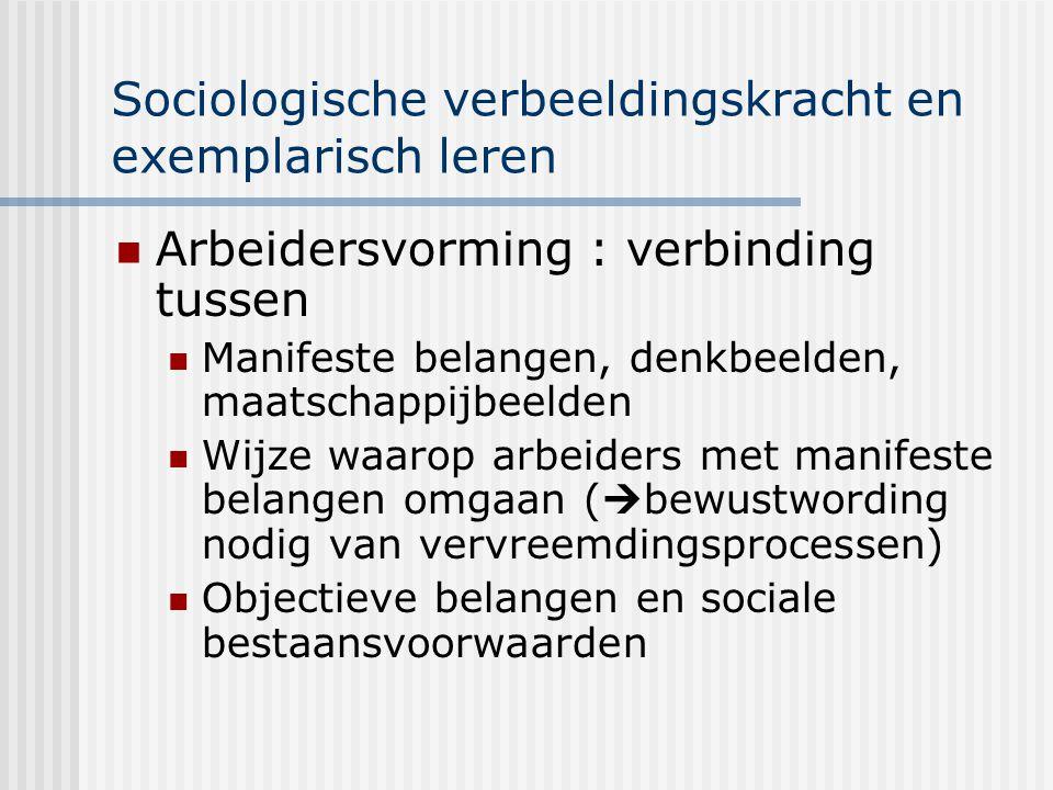 Sociologische verbeeldingskracht en exemplarisch leren Arbeidersvorming : verbinding tussen Manifeste belangen, denkbeelden, maatschappijbeelden Wijze