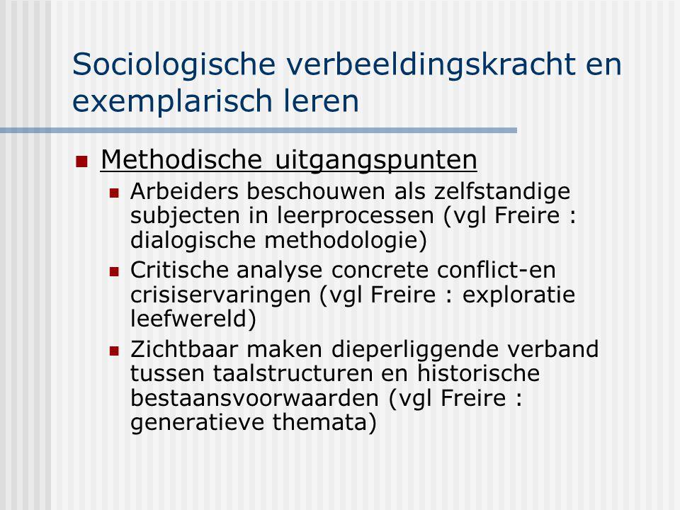 Sociologische verbeeldingskracht en exemplarisch leren Methodische uitgangspunten Arbeiders beschouwen als zelfstandige subjecten in leerprocessen (vg
