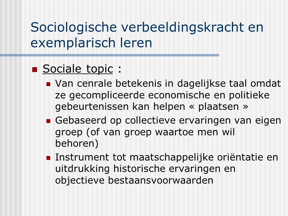 Sociologische verbeeldingskracht en exemplarisch leren Sociale topic : Van cenrale betekenis in dagelijkse taal omdat ze gecompliceerde economische en