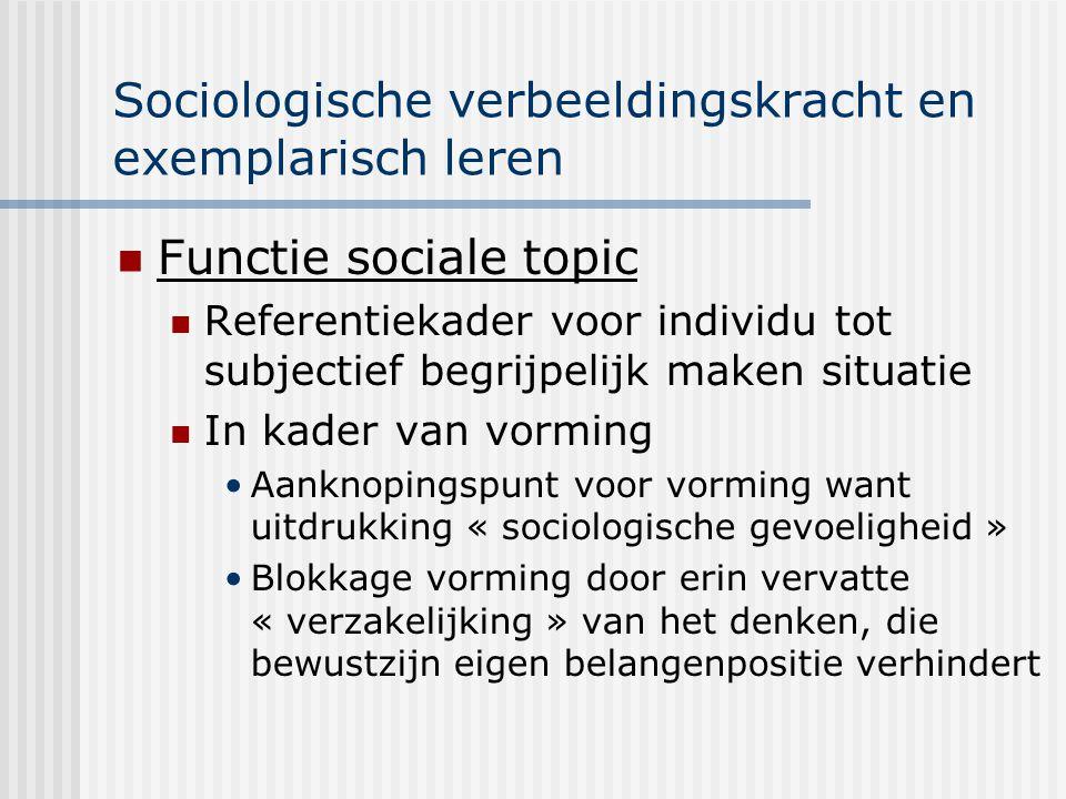 Sociologische verbeeldingskracht en exemplarisch leren Functie sociale topic Referentiekader voor individu tot subjectief begrijpelijk maken situatie