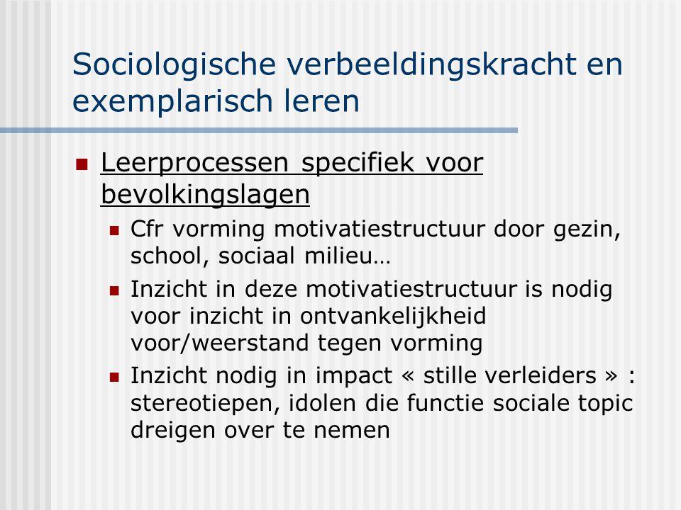Sociologische verbeeldingskracht en exemplarisch leren Leerprocessen specifiek voor bevolkingslagen Cfr vorming motivatiestructuur door gezin, school,