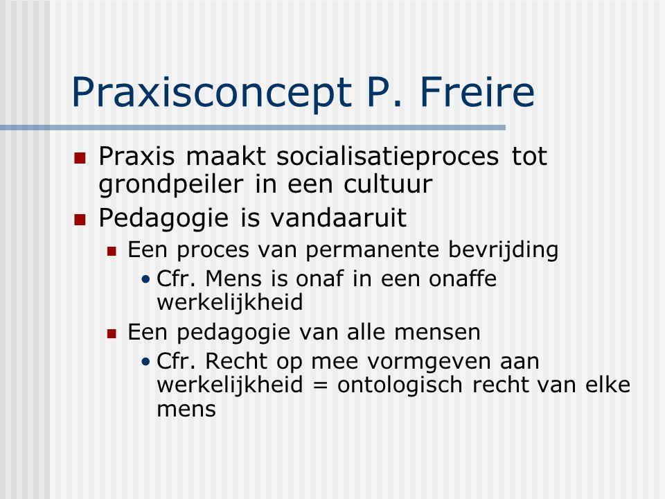 Praxisconcept P. Freire Praxis maakt socialisatieproces tot grondpeiler in een cultuur Pedagogie is vandaaruit Een proces van permanente bevrijding Cf