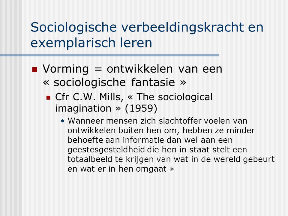 Sociologische verbeeldingskracht en exemplarisch leren Vorming = ontwikkelen van een « sociologische fantasie » Cfr C.W. Mills, « The sociological ima