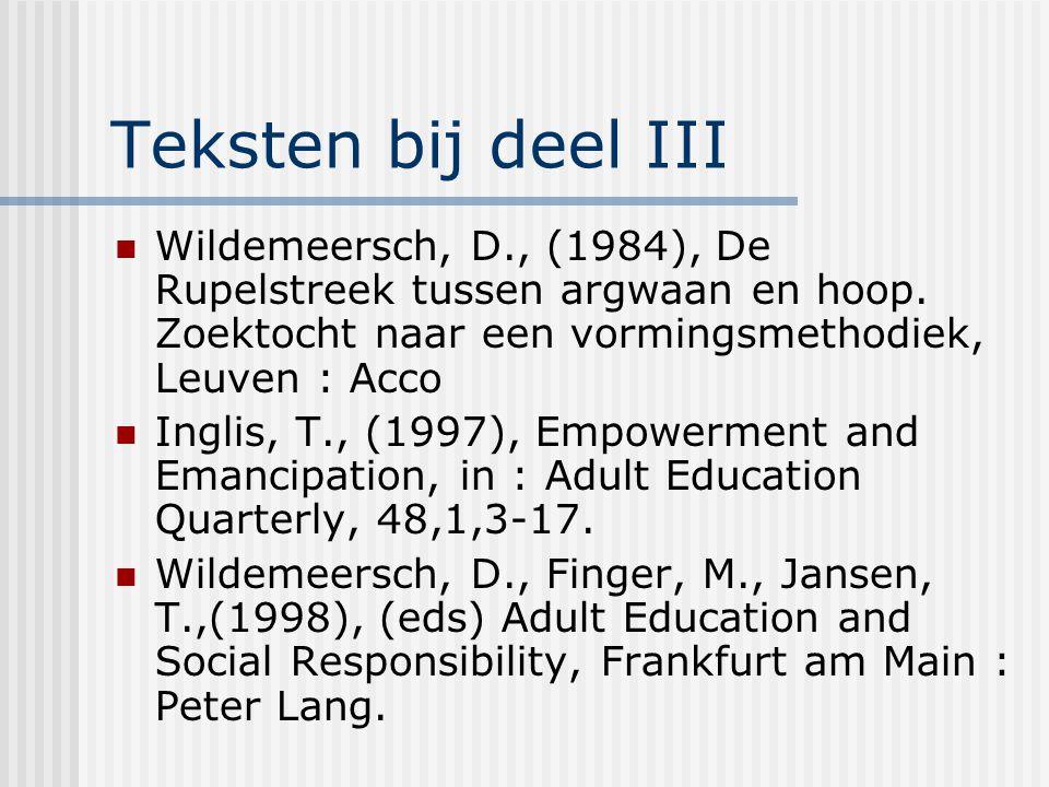Teksten bij deel III Wildemeersch, D., (1984), De Rupelstreek tussen argwaan en hoop. Zoektocht naar een vormingsmethodiek, Leuven : Acco Inglis, T.,