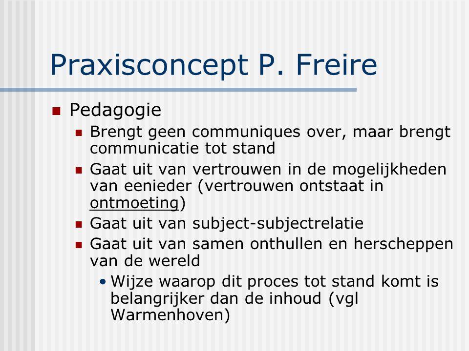 Praxisconcept P. Freire Pedagogie Brengt geen communiques over, maar brengt communicatie tot stand Gaat uit van vertrouwen in de mogelijkheden van een