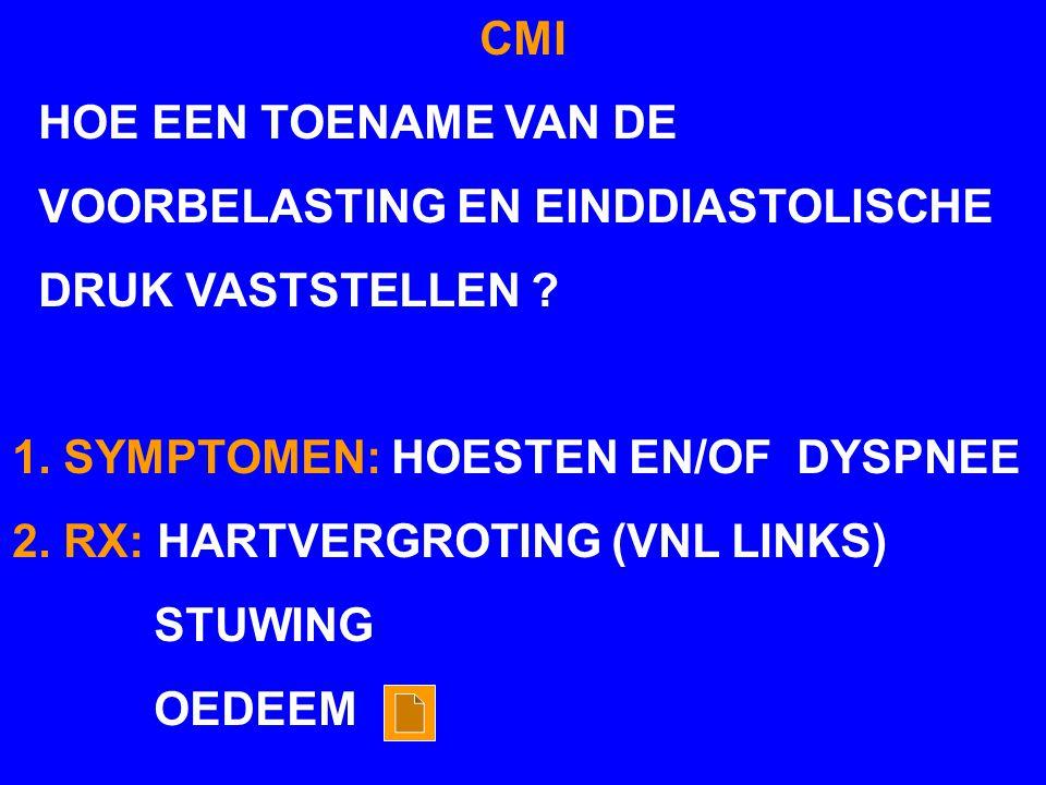 CMI HOE EEN TOENAME VAN DE VOORBELASTING EN EINDDIASTOLISCHE DRUK VASTSTELLEN ? 1. SYMPTOMEN: HOESTEN EN/OF DYSPNEE 2. RX: HARTVERGROTING (VNL LINKS)