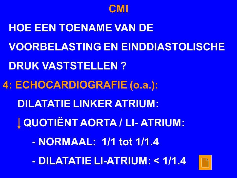 CMI HOE EEN TOENAME VAN DE VOORBELASTING EN EINDDIASTOLISCHE DRUK VASTSTELLEN ? 4: ECHOCARDIOGRAFIE (o.a.): DILATATIE LINKER ATRIUM: QUOTIËNT AORTA /