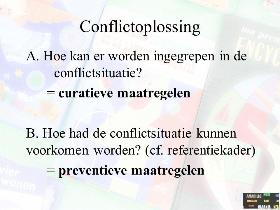 Conflictoplossing A. Hoe kan er worden ingegrepen in de conflictsituatie? = curatieve maatregelen B. Hoe had de conflictsituatie kunnen voorkomen word