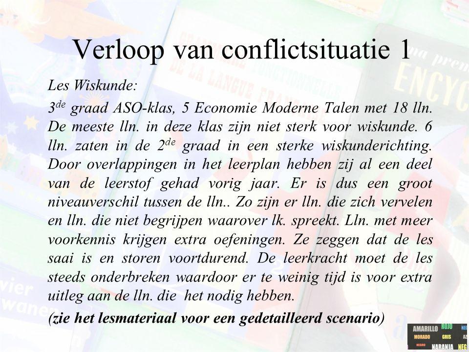 Verloop van conflictsituatie 1 Les Wiskunde: 3 de graad ASO-klas, 5 Economie Moderne Talen met 18 lln. De meeste lln. in deze klas zijn niet sterk voo