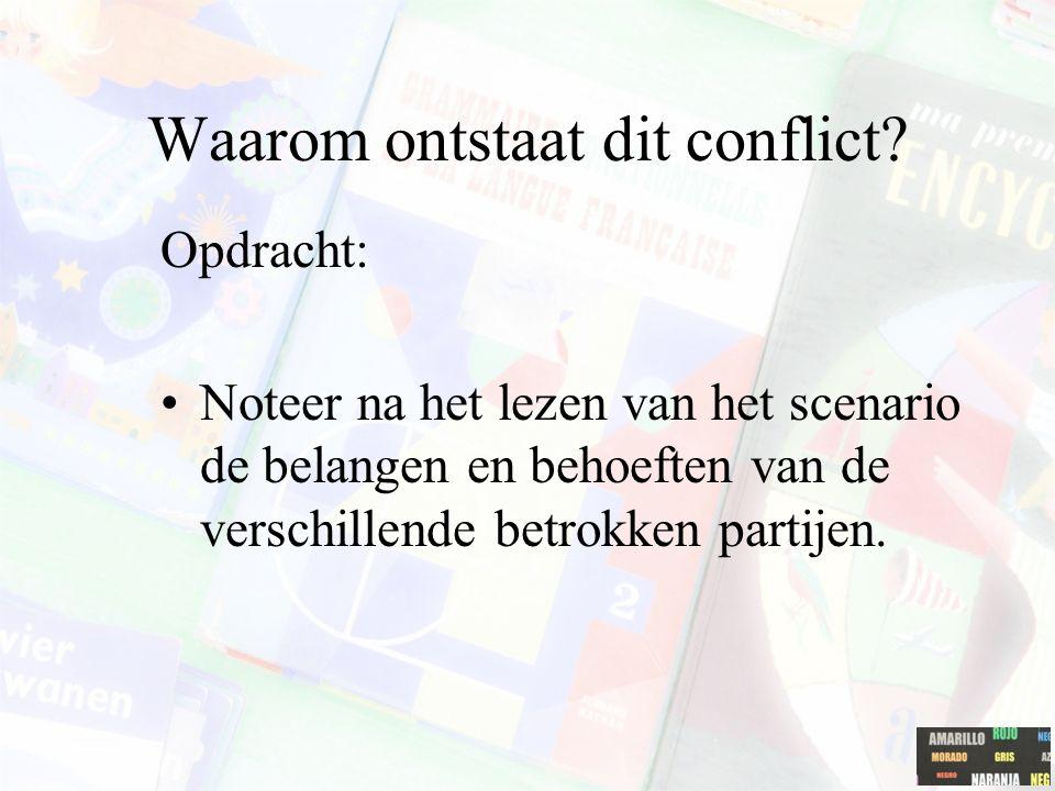Waarom ontstaat dit conflict? Opdracht: Noteer na het lezen van het scenario de belangen en behoeften van de verschillende betrokken partijen.