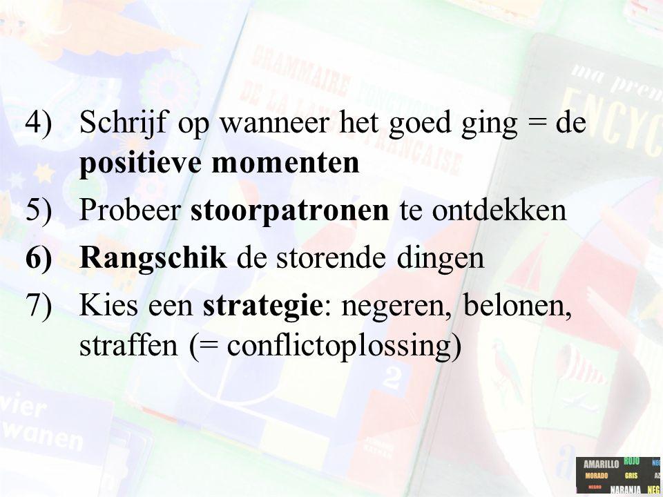 4)Schrijf op wanneer het goed ging = de positieve momenten 5)Probeer stoorpatronen te ontdekken 6)Rangschik de storende dingen 7)Kies een strategie: n