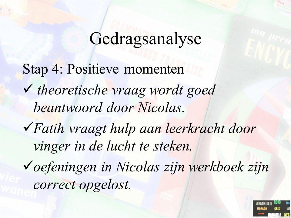 Gedragsanalyse Stap 4: Positieve momenten theoretische vraag wordt goed beantwoord door Nicolas. Fatih vraagt hulp aan leerkracht door vinger in de lu