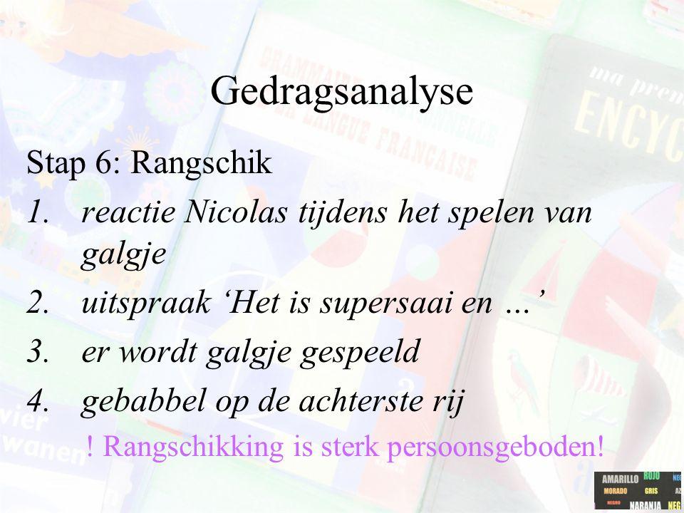 Gedragsanalyse Stap 6: Rangschik 1.reactie Nicolas tijdens het spelen van galgje 2.uitspraak 'Het is supersaai en …' 3.er wordt galgje gespeeld 4.geba