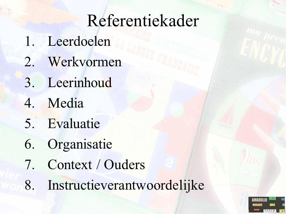 Referentiekader 1.Leerdoelen 2.Werkvormen 3.Leerinhoud 4.Media 5.Evaluatie 6.Organisatie 7.Context / Ouders 8.Instructieverantwoordelijke