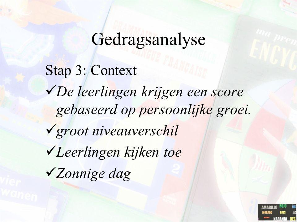 Gedragsanalyse Stap 3: Context De leerlingen krijgen een score gebaseerd op persoonlijke groei. groot niveauverschil Leerlingen kijken toe Zonnige dag