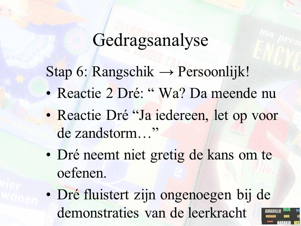 """Gedragsanalyse Stap 6: Rangschik → Persoonlijk! Reactie 2 Dré: """" Wa? Da meende nu Reactie Dré """"Ja iedereen, let op voor de zandstorm…"""" Dré neemt niet"""