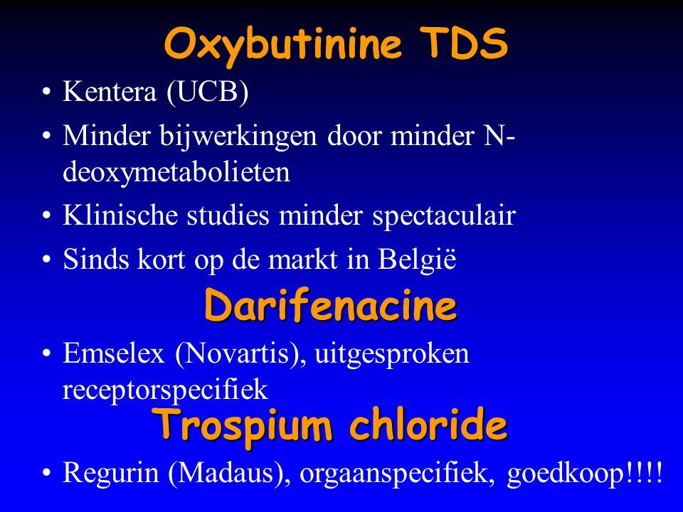 Oxybutinine TDS Kentera (UCB) Minder bijwerkingen door minder N- deoxymetabolieten Klinische studies minder spectaculair Sinds kort op de markt in Bel