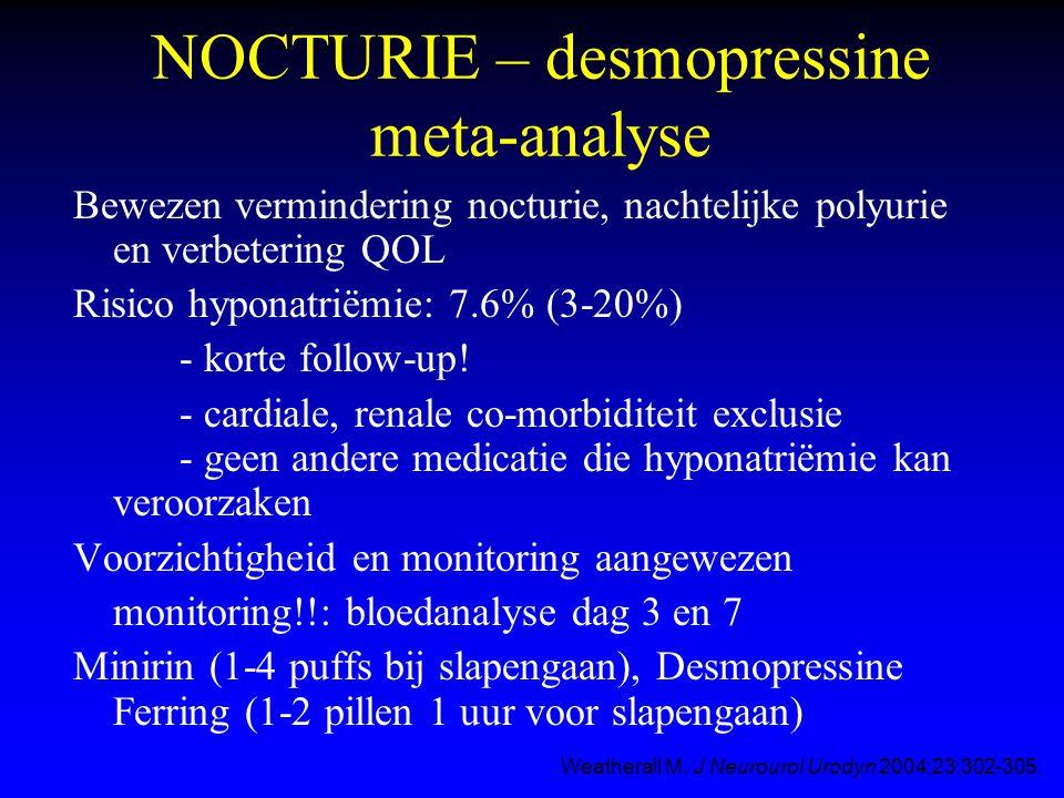NOCTURIE – desmopressine meta-analyse Bewezen vermindering nocturie, nachtelijke polyurie en verbetering QOL Risico hyponatriëmie: 7.6% (3-20%) - kort