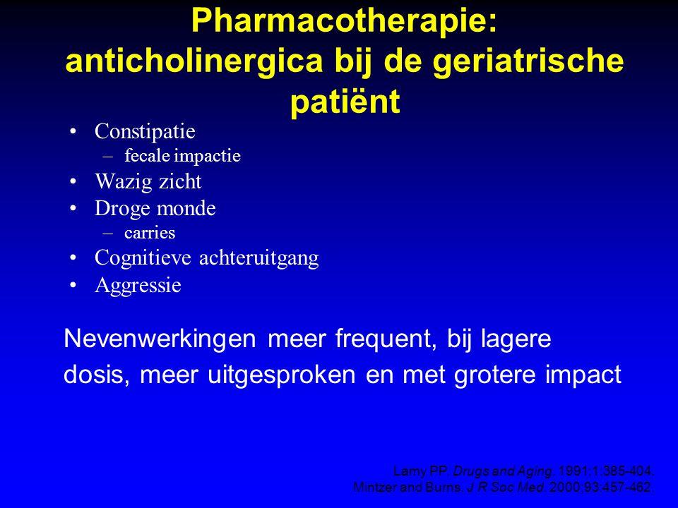 Anticholinergica en potentieel cognitieve achteruitgang Acetylcholine is belangrijke mediator voor korte termijn geheugen Ook andere medicatie kan cognitieve achteruitgang veroorzaken (antihistaminica, antispasmodica, anti-psychotica) Dubbel blind, placebo gecontroleerde crossover studie: placebo, oxybutynine 5 mg en 10 mg (n = 12 gezonde vrijwilligers, leeftijd 65–76) Pleidooi voor tolterodine, solifenacin Drachman DA, et al.
