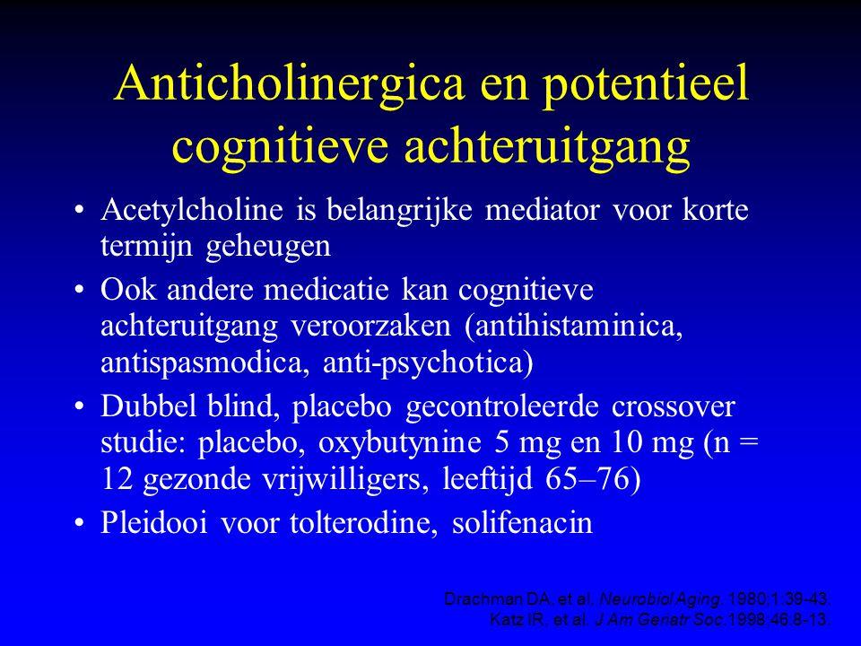 Anticholinergica en potentieel cognitieve achteruitgang Acetylcholine is belangrijke mediator voor korte termijn geheugen Ook andere medicatie kan cog
