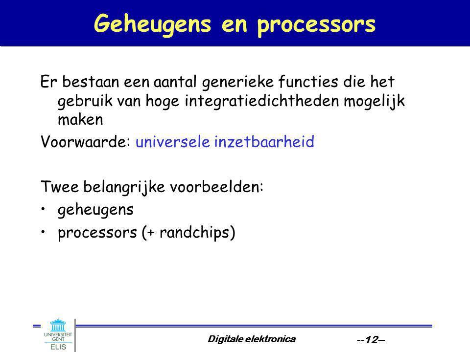 Digitale elektronica --12-- Geheugens en processors Er bestaan een aantal generieke functies die het gebruik van hoge integratiedichtheden mogelijk maken Voorwaarde: universele inzetbaarheid Twee belangrijke voorbeelden: geheugens processors (+ randchips)