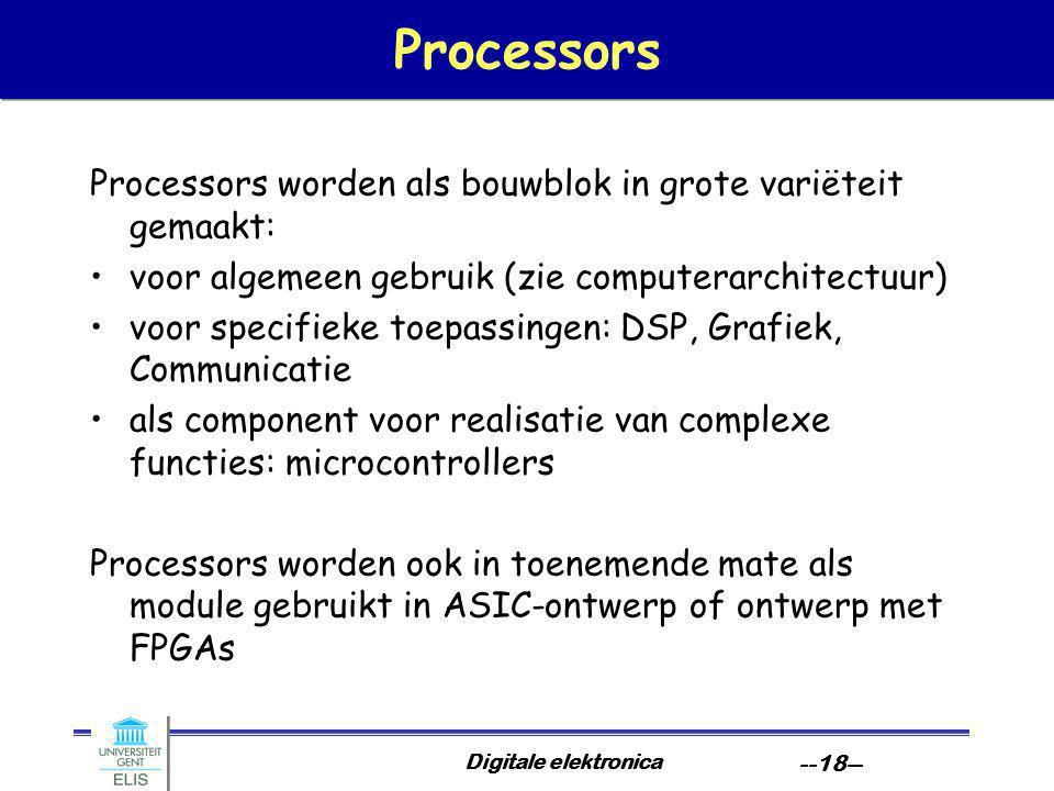 Digitale elektronica --18-- Processors Processors worden als bouwblok in grote variëteit gemaakt: voor algemeen gebruik (zie computerarchitectuur) voor specifieke toepassingen: DSP, Grafiek, Communicatie als component voor realisatie van complexe functies: microcontrollers Processors worden ook in toenemende mate als module gebruikt in ASIC-ontwerp of ontwerp met FPGAs