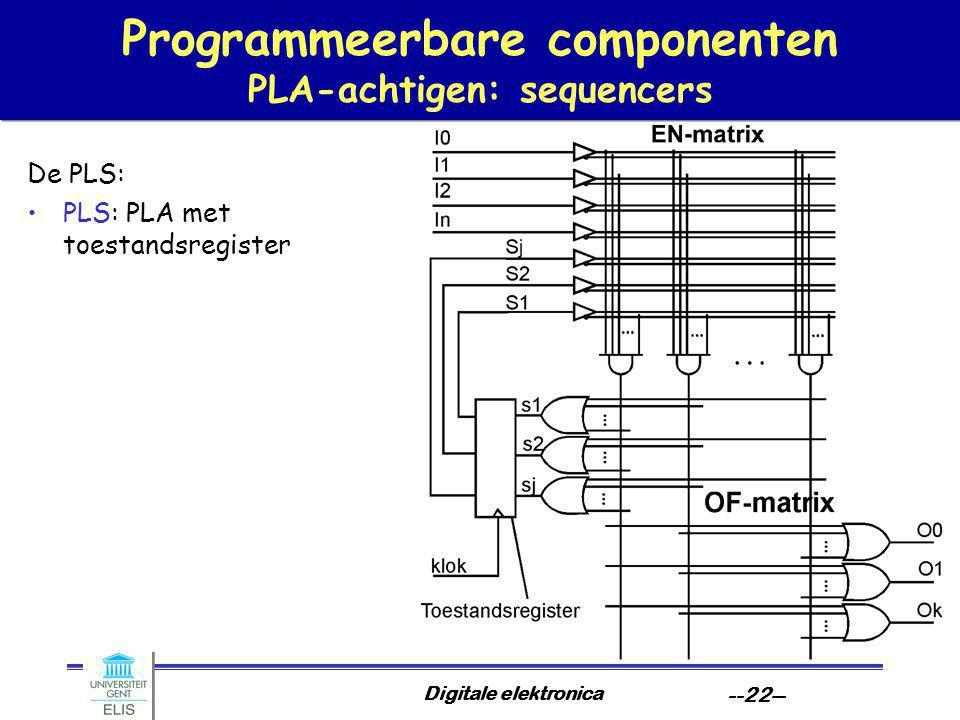Digitale elektronica --22-- Programmeerbare componenten PLA-achtigen: sequencers De PLS: PLS: PLA met toestandsregister